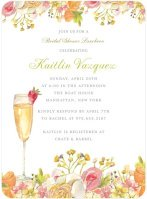 Bridal shower invitation with champagne glass and flowers.