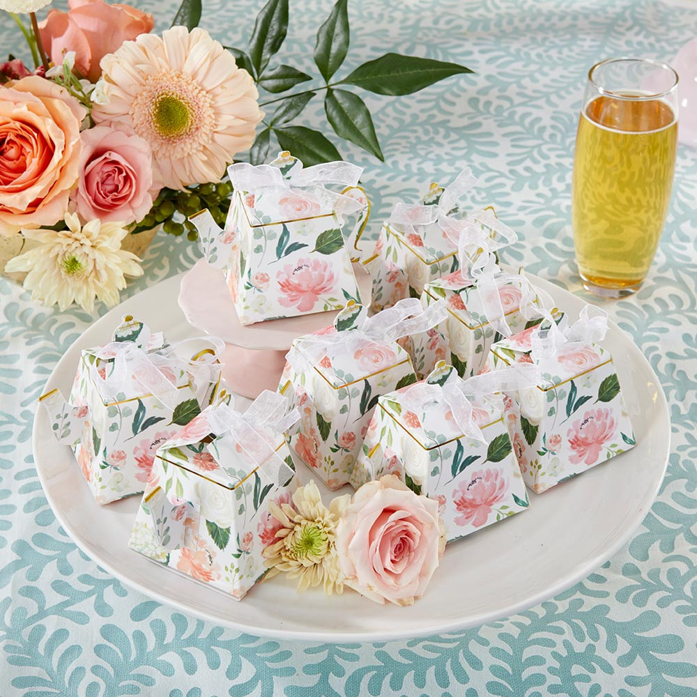 These striped purse boxes filled with a treat is a cute bridal shower favor.