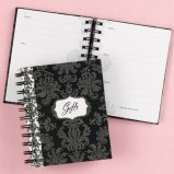Black damask gift record book for bridal shower.