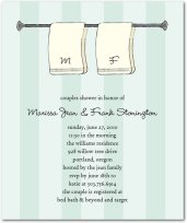 couples shower invitation showing two initialled towels on a towel rack