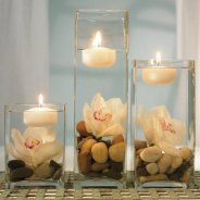 Add floating candles to your bridal shower decor.