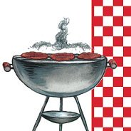 Burgers on a grill napkins with red and white checked border.