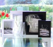 Wood shadow box and unity sand set is a great keepsake gift.