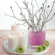 Pink water pearls bridal shower centerpiece