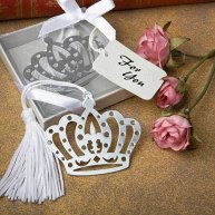 Princess crown bookmark favor made of metal, and nicely packaged.