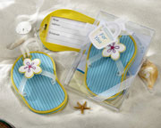 flip flop luggage tag bridal shower favors, blue with yellow trim
