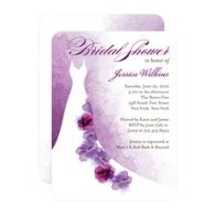 Purple and white bridal shower invitation.
