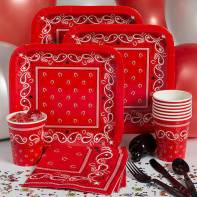 Western party pack has a red bandana print, with service for eight.