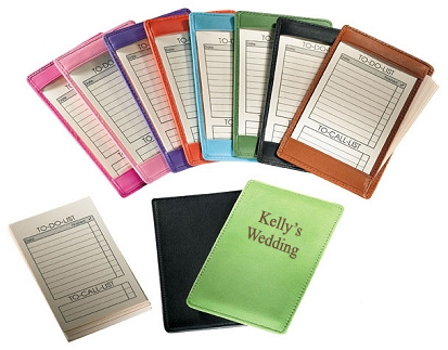 Leather bridal to do list notepad in a variety of colors.