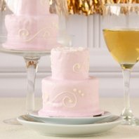 Two tier pink mini cake bridal shower.