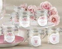 vintage glass favor jars with pink and blue floral design
