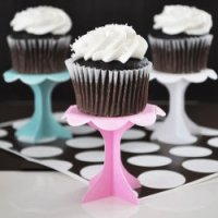Pink, white, and blue cupcake stands.
