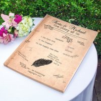 Canvas guest book for a wedding, that can be personalized.