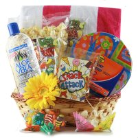 Gift tin filled with beach items.