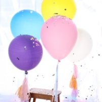 Giant colored balloons for decorating a bridal shower.