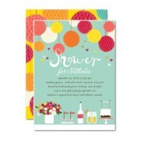 Bridal shower invitation with green background, white lettering, balloons, food items, and flowers.