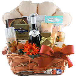 DIY wine and spa gift basket
