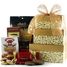 Chocolate Lover's gourmet treat gift tower with  gourmet goodies.