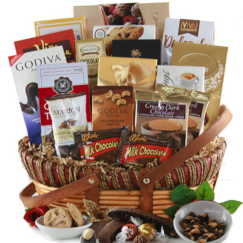 A true chocolate lover's gift basket, including all the favorites.