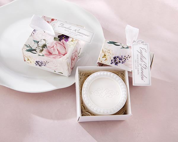 This lightly scented soap comes in a pretty floral box for an impressive bridal shower favor.