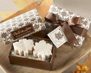 Fall leaf shaped soap favors