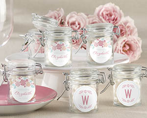 vintage glass favor jars with pink and blue floral design
