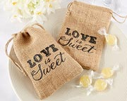 Burlap sacs with a drawstring to fill and use as a bridal shower favor.