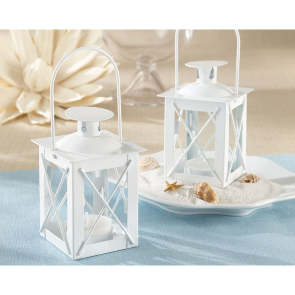 white lantern tea light holder and bridal shower favor