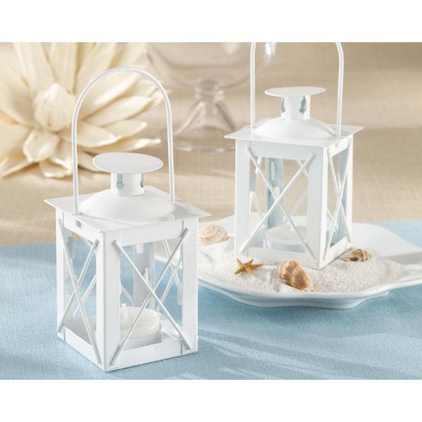 white lantern tea light holder and bridal shower favor