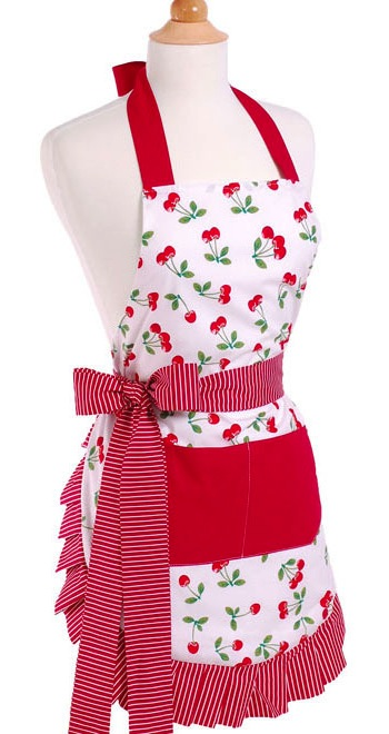 Vintage apron pink and red with cherry design