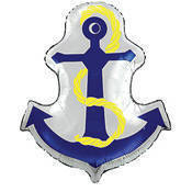 Navy anchor mylar balloon with yellow rope