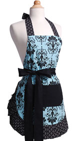 woman's aqua damask apron