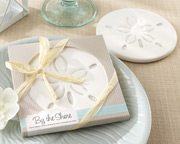 This summer bridal shower favor is a sand dollar design coaster.