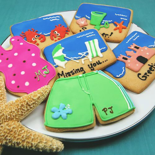 personalized beach theme cookies