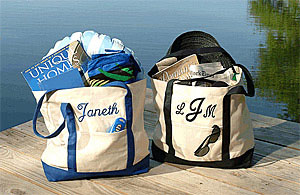 Embroidered canvas beach totes.