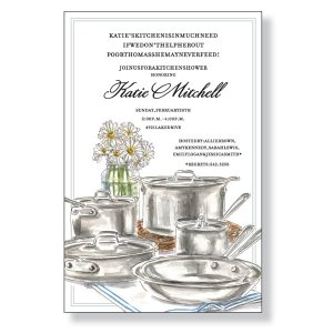 Party invitation showing cookware and daisies in a vase, on a table.