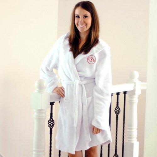 woman's white monogrammed robe