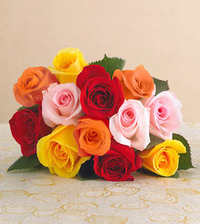 Beautiful bouquet of mixed color roses