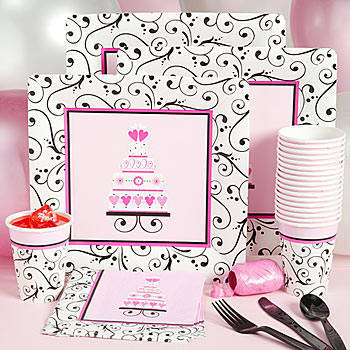 Black, white, and pink, bridal shower party kit.