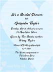 Blue bridal shower invitation with heart design.