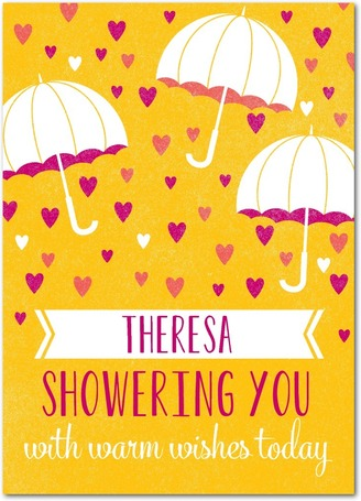 bridal shower card with umbrellas and hearts