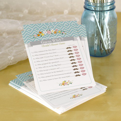 Bridal shower game card where you fill in whether the fact is about the bride or groom.