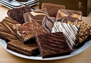Plateful of delicious brownies for a dessert theme party.rs