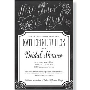 Calkboard theme bridal shower invitation
