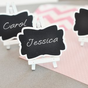 Add these chalkboard place cards to your  bridal shower plans.