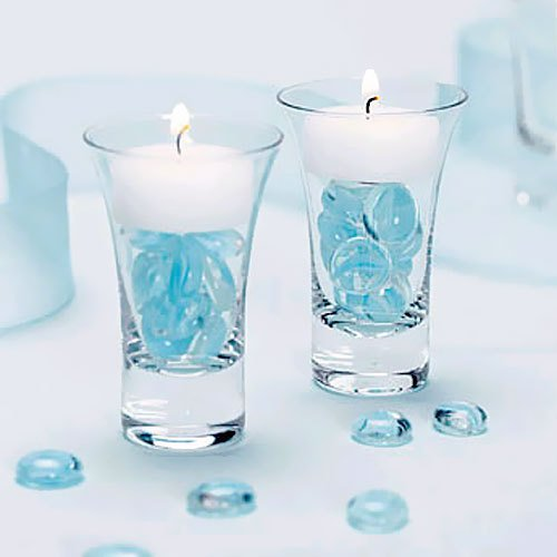 Cordial glass tea light holder fileed with blue glass stones