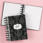 damask bridal shower gift book to track guests and gifts given