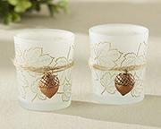 This fall bridal shower favor is a warm leaf designed votive holder with hanging acorn.