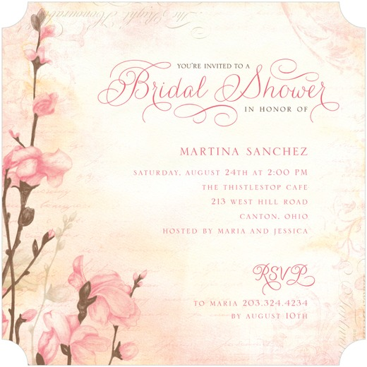 Beautiful pink floral bridal shower invitation.