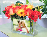 personalized glass photo vase for bridal shower